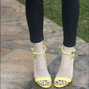 Sexy neon green strappy sandal heels